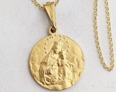 Necklace - Our Lady of Mount Carmel / Sacred Heart of Jesus 20mm - 18K Gold Vermeil + 18 Inch Italian 18K Gold Vermeil Chain