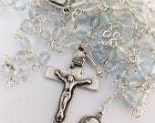 Rosary - Blue Topaz - Antique French Crucifix and Center - Mary of Magdala - Sterling Silver