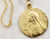Necklace - Mary of Magdala w/ Alabaster Jar 25mm - 18K Gold Vermeil + 18 inch Italian 18K Gold Vermeil Chain