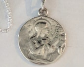 Necklace - Mary Magdalene / La Madeleine 18.5mm - Sterling Silver - 18 Inch Italian Sterling Silver Chain