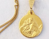 Necklace - Tiny St Anthony & Baby Jesus 13mm - 18K Gold Vermeil + 18 Inch Italian 18K Gold Vermeil Chain