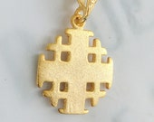 Cross - Jerusalem Cross 17.5x21mm - 18K Gold Vermeil