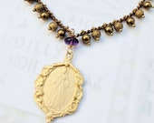 Bracelet - Divine Mercy / Jesus I Trust In You 21x30mm & Amethyst 18mm - 18K Gold Vermeil - Parisian Chain