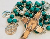 Rosary - Eucharist Turquoise + Freshwater Pearl, Mary Magdalene & Saintes-Maries - Sterling Silver