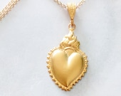 Necklace - Sacred Heart of Jesus 18x27mm - 18K Gold Vermeil + 18 Inch Italian 18K Gold Vermeil Chain