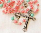 Rosary - Coral & Amazonite, Mary Magdalene - Sterling Silver
