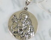 Necklace - St Joseph & Infant Jesus / Our Lady of Lourdes - Sterling Silver 31mm