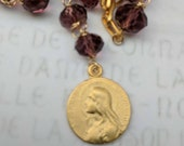 Chaplet - Maria Magdalena Purple Crystal - 18K Gold Vermeil - 18mm