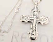 Necklace - Rare Crusader Crucifix 35x49mm - Sterling Silver + 18 Inch Sterling Silver Chain