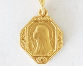 Necklace - Tiny Mary of Magdala w/ Alabaster Jar 13x17mm - 18K Gold Vermeil + 18 inch Italian 18K Gold Vermeil Chain