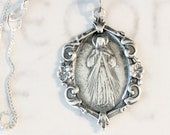 Necklace - Divine Mercy / Jesus I Trust In You! 21x30mm - Sterling Silver + 18 Inch Italian Sterling Silver Chain