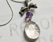 Necklace - Antique Sainte Thérèse Bow & Amethyst - Sterling Silver + 18 Inch Italian Sterling Silver Chain