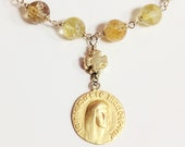 Bracelet - Citrine Mary of Magdala with Cross - 18K Gold Vermeil