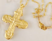 Necklace - Rare Crusader Crucifix 35x49mm - 18K Gold Vermeil with Parisian Chain