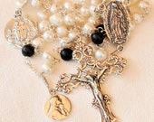 Rosary - Freshwater Pearl Blue Goldstone - Our Lady of Guadalupe, Mary Magdalene & Saintes Maries - Sterling Silver