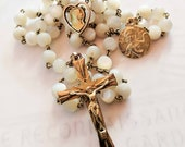 Rosary - Antique French Mother of Pearl Guardian Angel - 18K Gold Vermeil