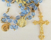 Rosary - Blue French Crystal - Marie Madeleine & Saintes Maries - 18K Gold Vermeil