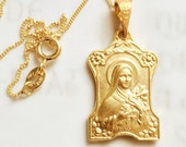 Necklace - Saint Thérèse 16x25mm - 18K Gold Vermeil + 18 inch Italian 18K Gold Vermeil Chain