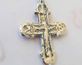 Cross - Large Medieval Crucifix - Sterling Silver - 49x35mm