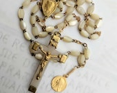 Rosary - Antique French Mother of Pearl Mary of Magdala - 18K Gold Vermeil