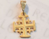 Cross - Jerusalem Cross  14mm - 18K Gold Vermeil