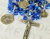 Rosary - French Blue Glass - Sterling Silver - Mary of Magdala & Saintes-Maries