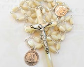 Rosary - Antique French Mother of Pearl & Sterling Silver - Sainte Marie Madeleine