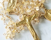 Rosary - Citrine with French Crucifix & St Jude Center + Miraculous Medal - 18K Gold Vermeil