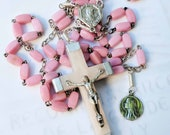 Rosary - Antique French Pink Stone Mary of Magdala - Sterling Silver