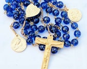 Rosary - French Blue Stars Glass - Ste Madeleine & Saintes-Maries - 18K Gold Vermeil