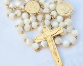 Rosary - French Nacre - Mother of Pearl Mary & Baby Jesus - 18K Gold Vermeil