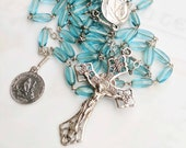 Rosary - French Blue Glass Ste Marie Madeleine - Sterling Silver