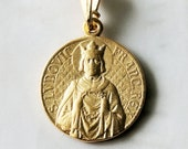 Medal - Saint Louis - King Louis IX and Crown of Thorns 21mm - 18K Gold Vermeil