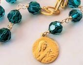 Chaplet - Deep Turquoise Crystal Sancta Magdalena - 18K Gold Vermeil