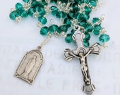 Rosary - Emerald Crystal French Silver Crucifix, Center & Antique Our Lady of Lourdes Medal - Sterling Silver