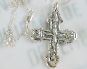 Necklace - Rare Crusader Crucifix 35x49mm - Sterling Silver with Parisian Chain