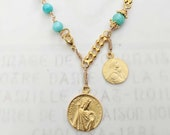 Bracelet - King Louis IX & Mary of Magdala - Amazonite 18K Gold Vermeil Rosary Bracelet