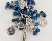 Rosary - French Blue Hand-Painted Glass Marie Madeleine & Saintes Maries - Sterling Silver