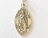 Medal - Our Lady of the Rosary / Lourdes 16x28mm - Sterling Silver