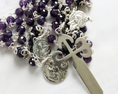 Rosary - St James Cross - Amethyst + Brother Apostles Sts James & John - Sterling Silver