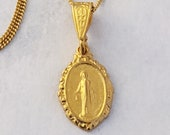 Necklace - Tiny Miraculous Medal 10x16mm - 18K Gold Vermeil + 18 Inch Italian 18K Gold Vermeil Chain