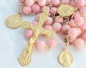 Rosary - Pink Coral 18K Gold Vermeil + Mary of Magdala & Saintes-Maries