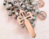 Rosary - Larimar St James & John Brother Apostles - St James of Compostela Cross - Sterling Silver