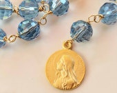 Chaplet - Maria Magdalena Light Blue Crystal - 18K Gold Vermeil - 18mm