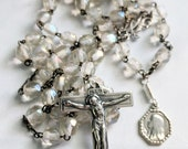 Rosary - Antique French Lead Crystal - Sterling Silver Crucifix & Center + Mary of Magdala