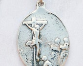 Medal - Mary Magdalene at the Foot of the Cross / Nativity 23x33mm - Sterling Silver