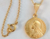 Necklace - Saint Mary Magdalene 18K Gold Vermeil Medal - 15mm + 18 inch Italian 18K Gold Vermeil Chain