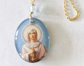 Necklace - St Mary Magdalene Resin of Church on Mount of Olives  17x20 + Aquamarine - 18 Inch Italian 18K Gold Vermeil Chain