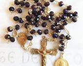 Rosary - Purple Velvet Chinese Crystal Saint Mary Magdalene Rosary, 24K Gold Vermeil Crucifix & Center