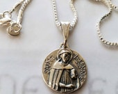 Necklace - St Dominic de Guzmán - Sterling Silver 18mm + 20 inch Sterling Silver box chain